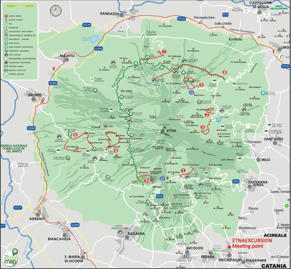 Mappa escursionistica Etna